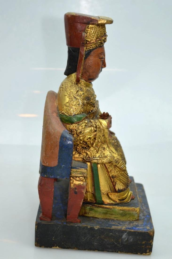 Qing Dynasty Chinese Gilt Lacquer & Wood House God - 4