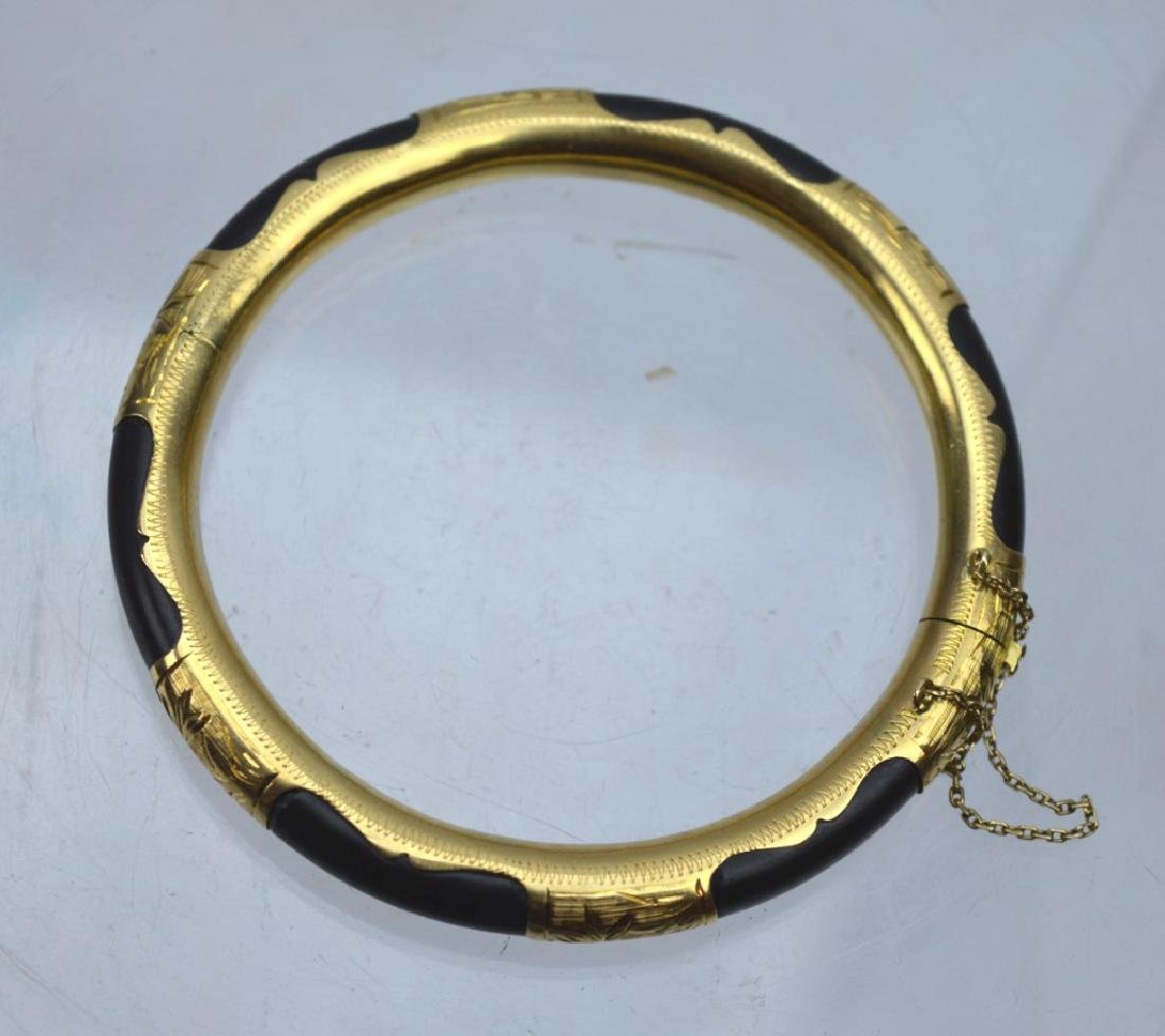 Chinese Black Coral and 18K Gold Hinged Bangle