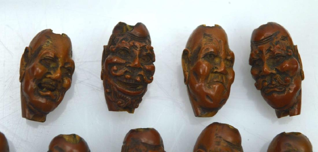 9 - Carved Chinese Peach-Pit Lohan-Head Beads - 2
