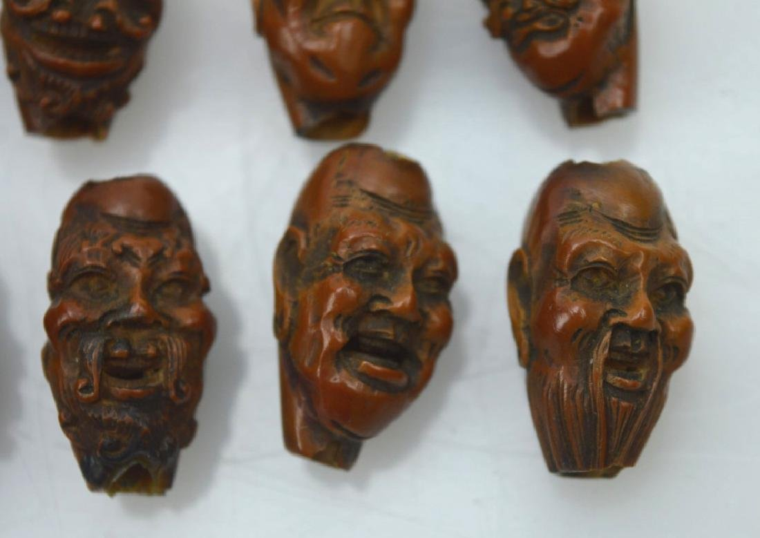 9 - Carved Chinese Peach-Pit Lohan-Head Beads - 3