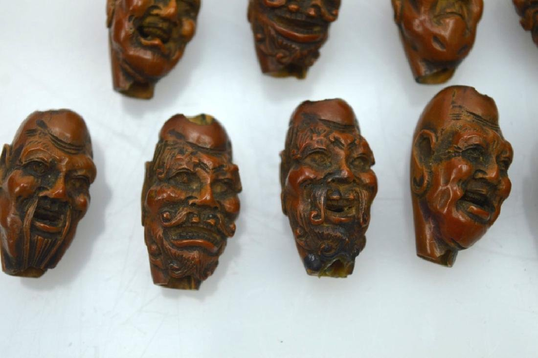 9 - Carved Chinese Peach-Pit Lohan-Head Beads - 4