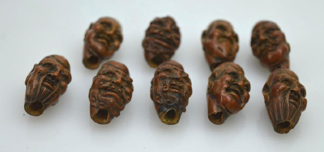 9 - Carved Chinese Peach-Pit Lohan-Head Beads - 5