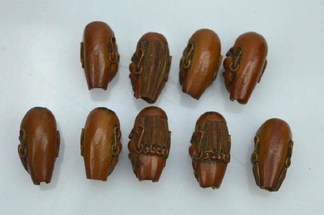 9 - Carved Chinese Peach-Pit Lohan-Head Beads - 6