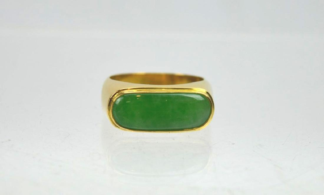 Chinese Apple Green Jadeite in 18K Gold Ring