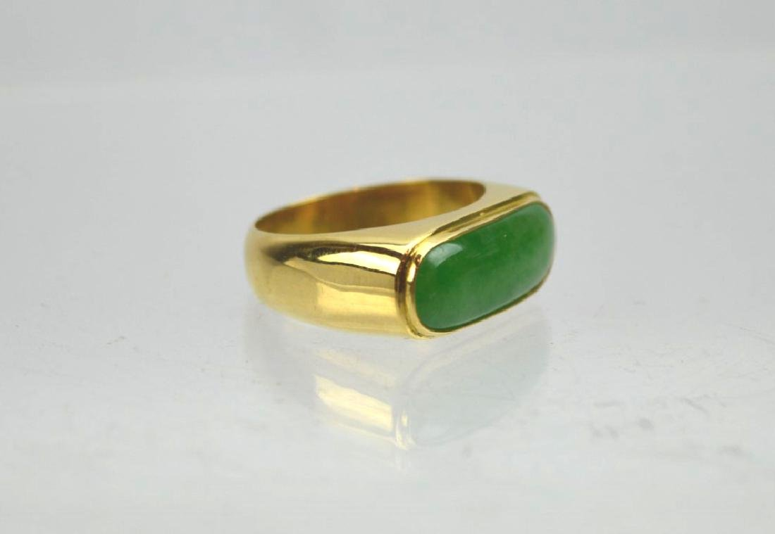 Chinese Apple Green Jadeite in 18K Gold Ring - 2