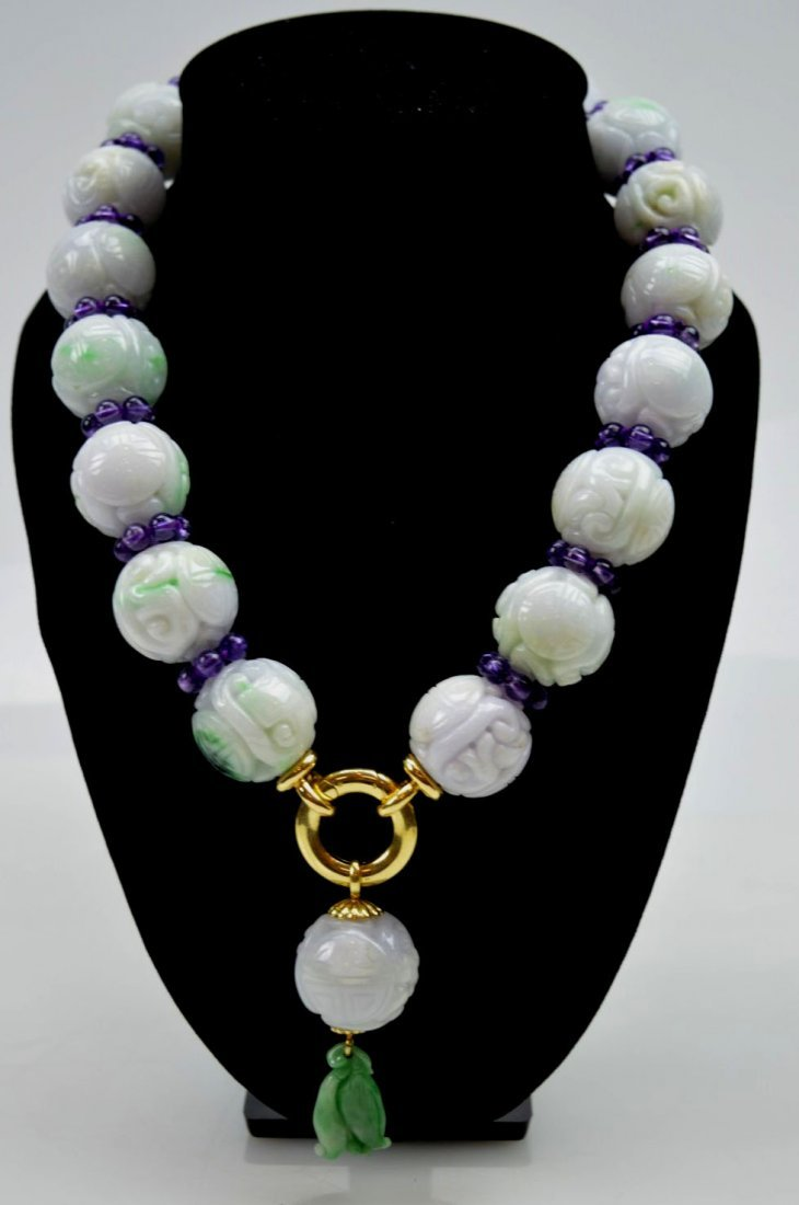 Chinese Jadeite Bead Necklace; Amethyst, 18K Gold