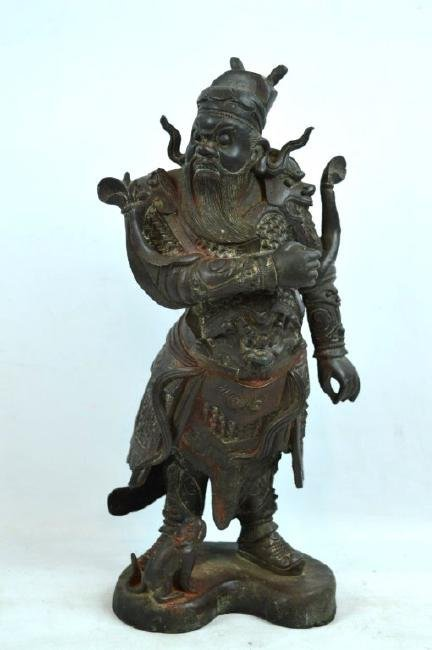 Chinese Cast & Chased Bronze Guardian Figure