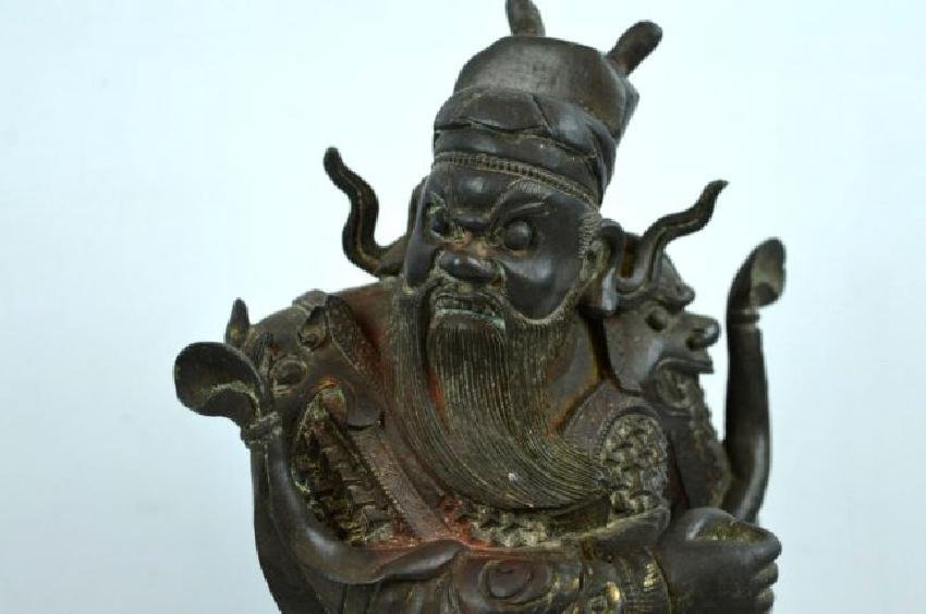 Chinese Cast & Chased Bronze Guardian Figure - 2