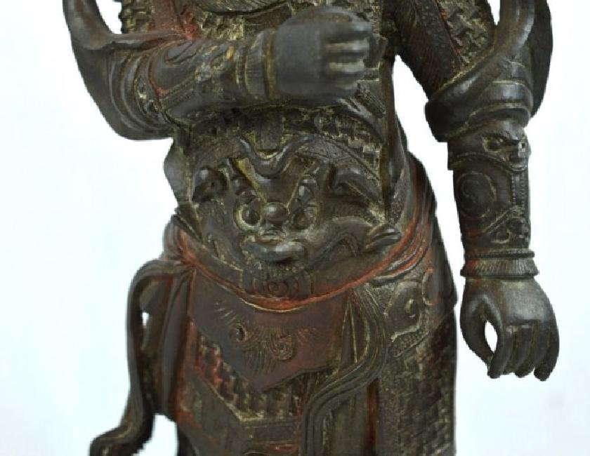 Chinese Cast & Chased Bronze Guardian Figure - 3