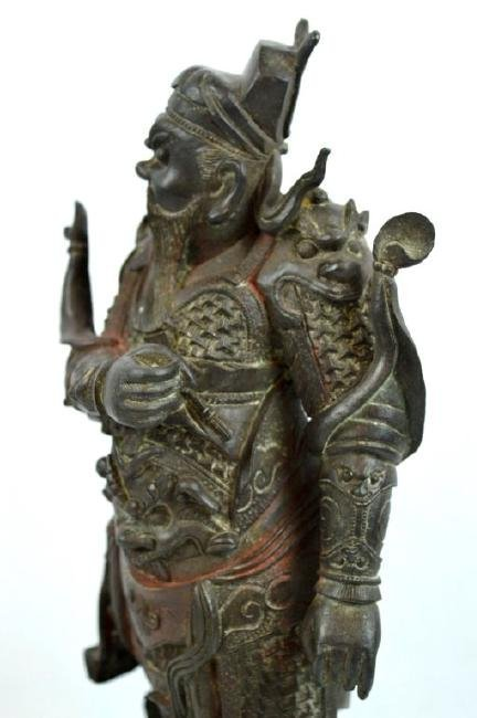 Chinese Cast & Chased Bronze Guardian Figure - 5