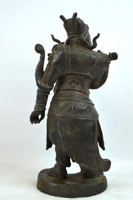 Chinese Cast & Chased Bronze Guardian Figure - 6