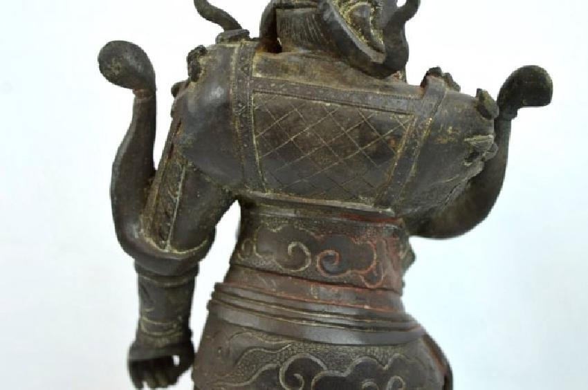 Chinese Cast & Chased Bronze Guardian Figure - 7