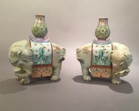Pr Chinese Enameled Porcelain Elephants *******see Note