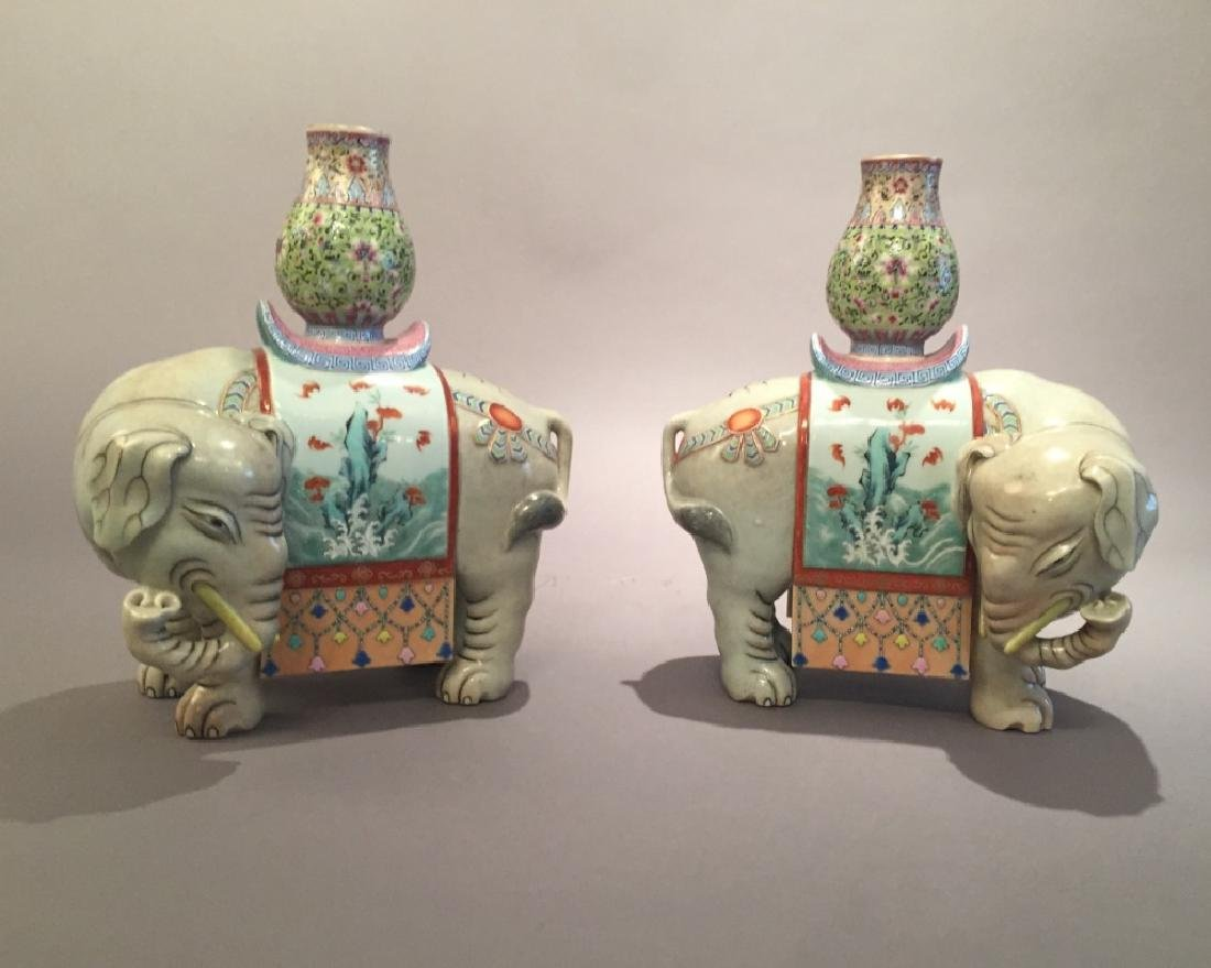Pr Chinese Enameled Porcelain Elephants *******See Note