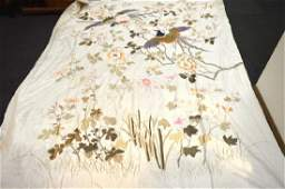Large Chinese Silk Floss Embroidered Satin Cover