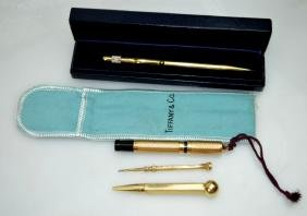 4 - Pens Or Pencils In 14k Gold, Tiffany & Cartier
