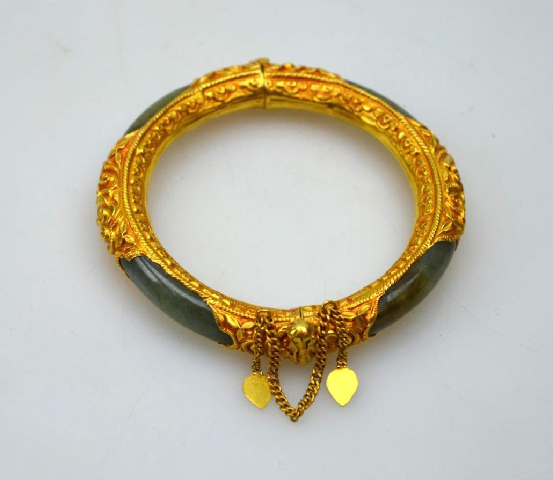 581d97a8ea5 Chinese Green Jade Bangle in High Karat Gold - Jul 01, 2017 | Eddie's  Auction in NY