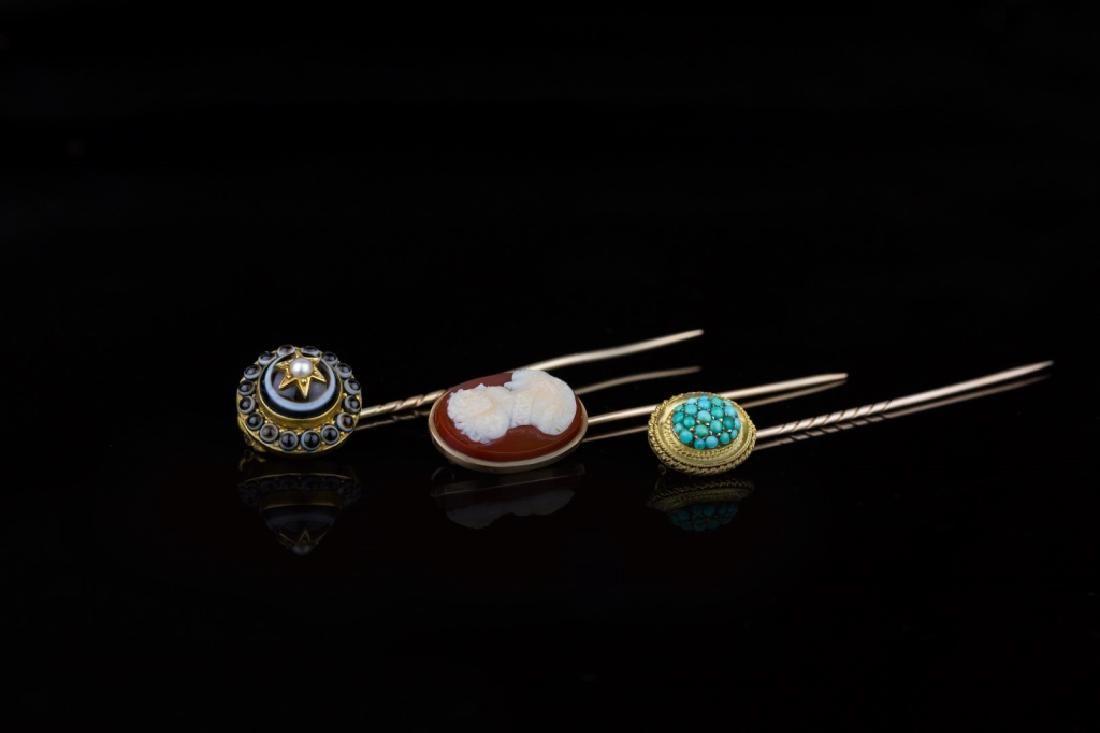 3-Fine Victorian Men's Tie Pins
