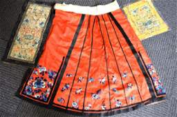 3 Pieces Qing Dynasty Chinese Silk Embroideries