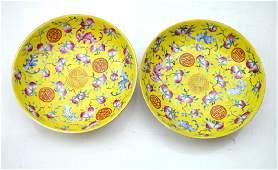 Pr Chinese Guangxu Yellow Ground Porcelain Plates