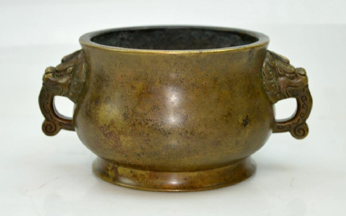 Chinese Qing Dynasty Bronze Censer, Lion Handles