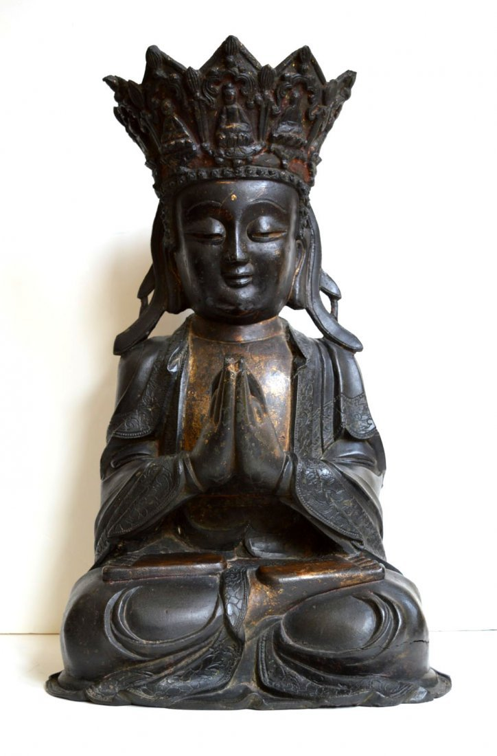 Important Large Chinese Ming Bronze Seated Buddha