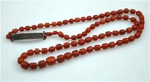 Antique Dark Coral Bead Necklace 46 grams