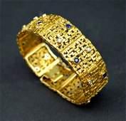 Modernist 18K Gold Diamond  Sapphire Bracelet
