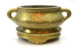Antique Chinese Carved Bronze Censer and Base