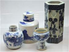 4  Pieces Chinese Blue  White Porcelain