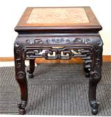 Chinese Carved Hardwood Square Table w Marble