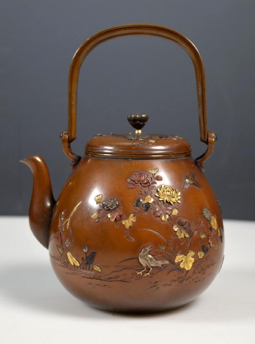 19th C. Aesthetic Movement Mixed Metal Japanese Teapot