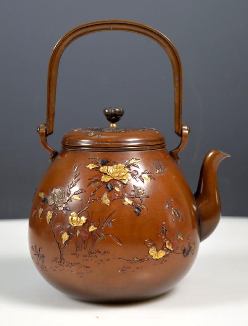19th C. Aesthetic Movement Mixed Metal Japanese Teapot - 2