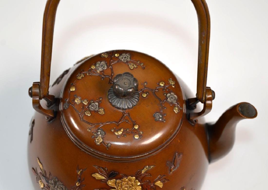 19th C. Aesthetic Movement Mixed Metal Japanese Teapot - 8