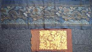 2 Antique Chinese Silks Gold Embroidery Brocade
