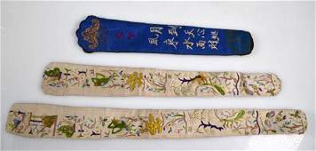 3 Antique Embroidered Silk Fan Cases