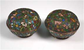 Pr Qing Chinese Enameled & Silvered Metal Boxes