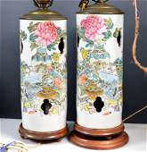 Pr Lg Chinese 19th C Enameled Porcelain Hat Stands