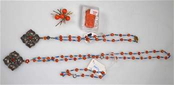Group Five Chinese Coral Jewelry total 98G