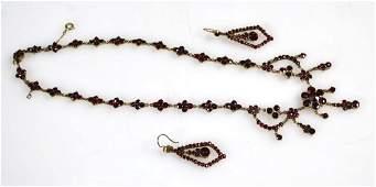 Victorian Garnet  Gilt Metal Necklace  Earrings