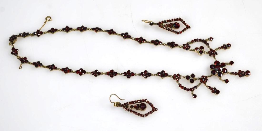 Victorian Garnet & Gilt Metal Necklace & Earrings