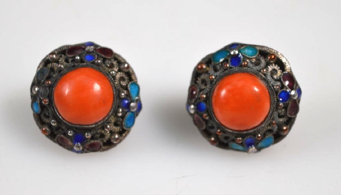 Antique Chinese Wire-work, Enamel & Coral Earrings