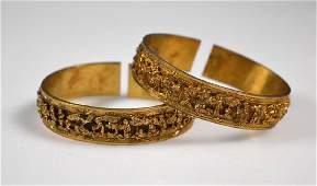 Pair 19th C Chinese Gilt Silver Bangle Bracelets