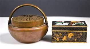 Antique Chinese Bronze Hand Warmer Cloisonne Box