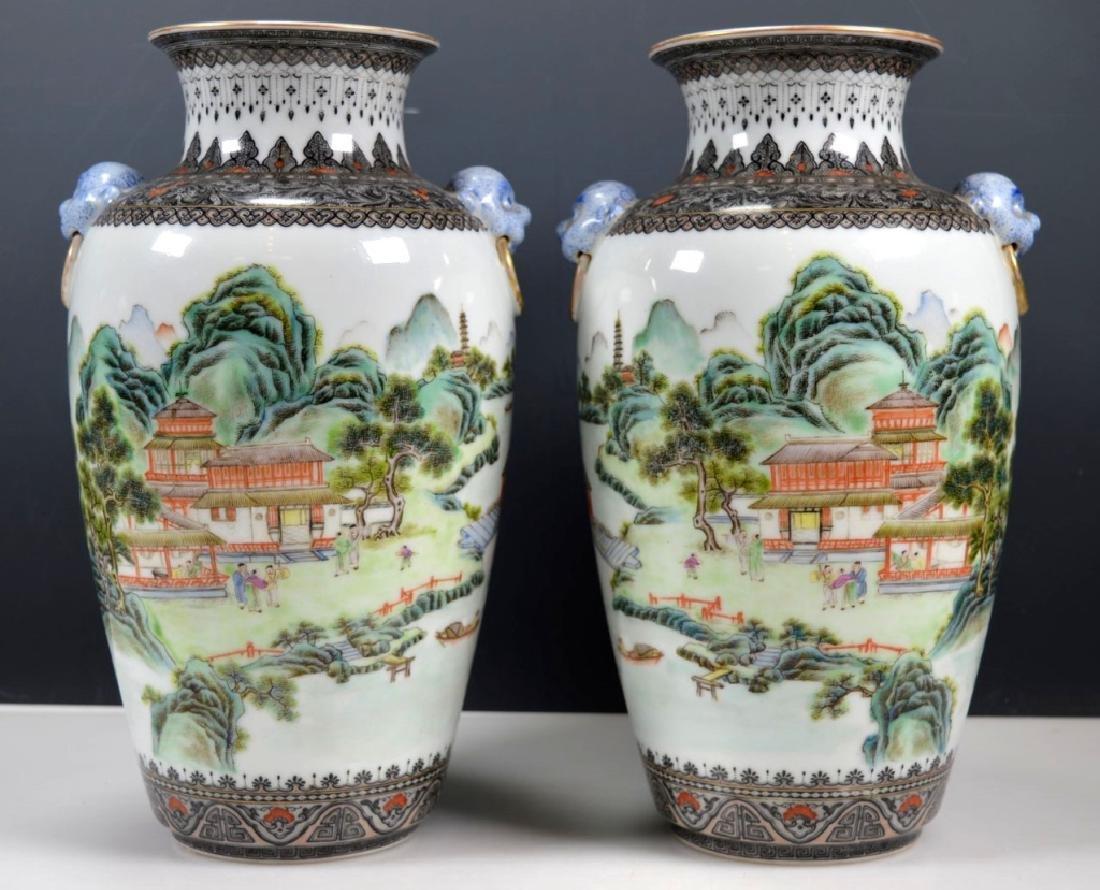 Chinese Mirror Pr Fencai Enamel Porcelain Vases