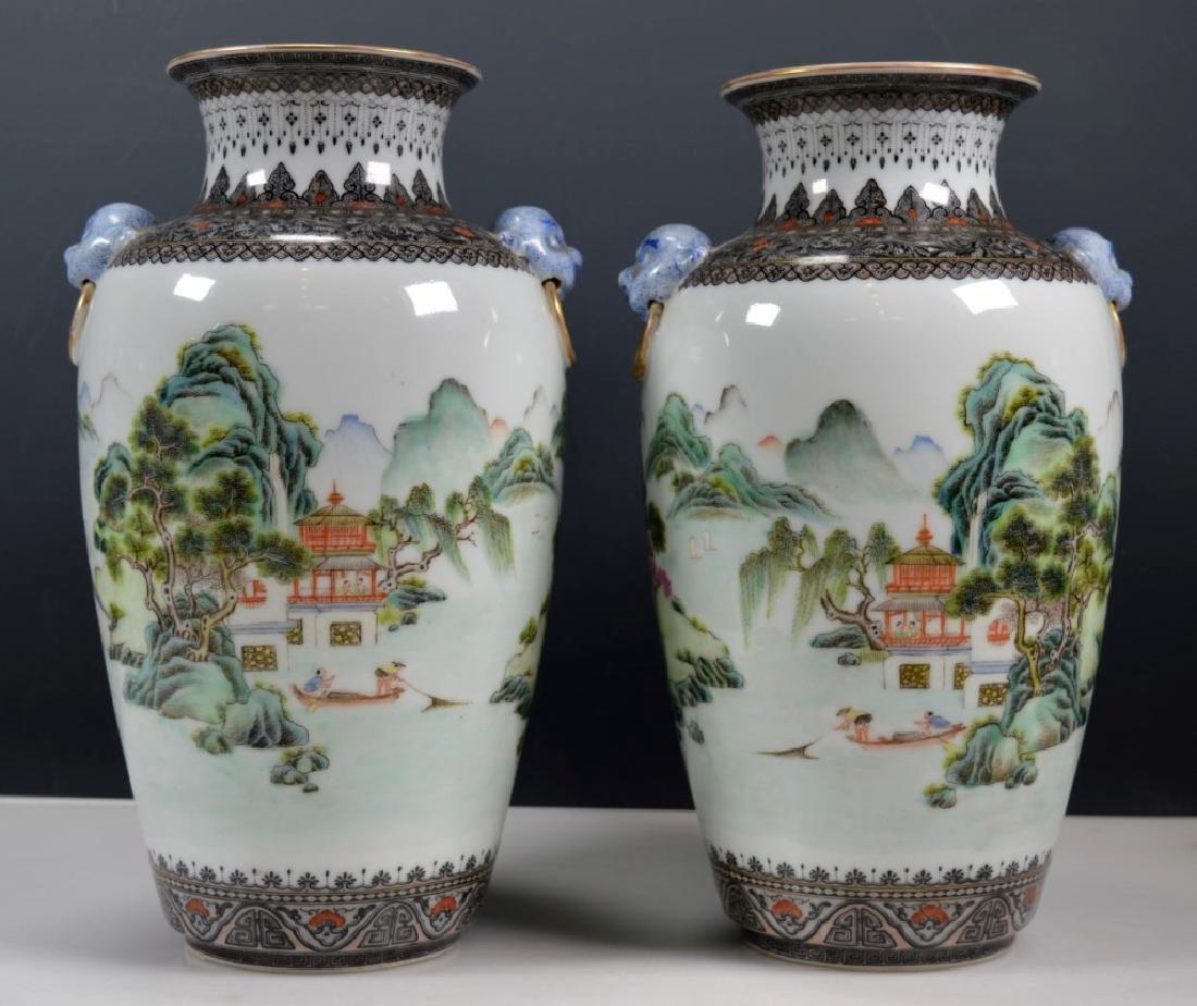 Chinese Mirror Pr Fencai Enamel Porcelain Vases - 2