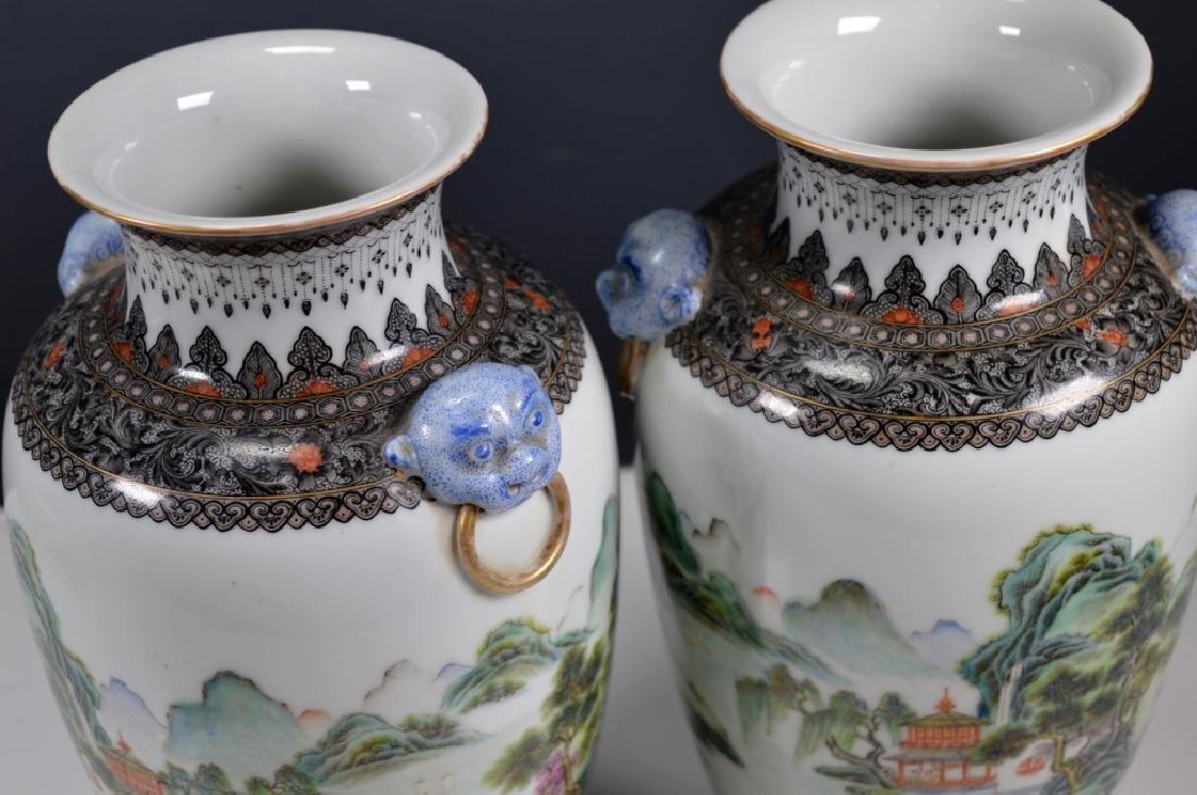 Chinese Mirror Pr Fencai Enamel Porcelain Vases - 7