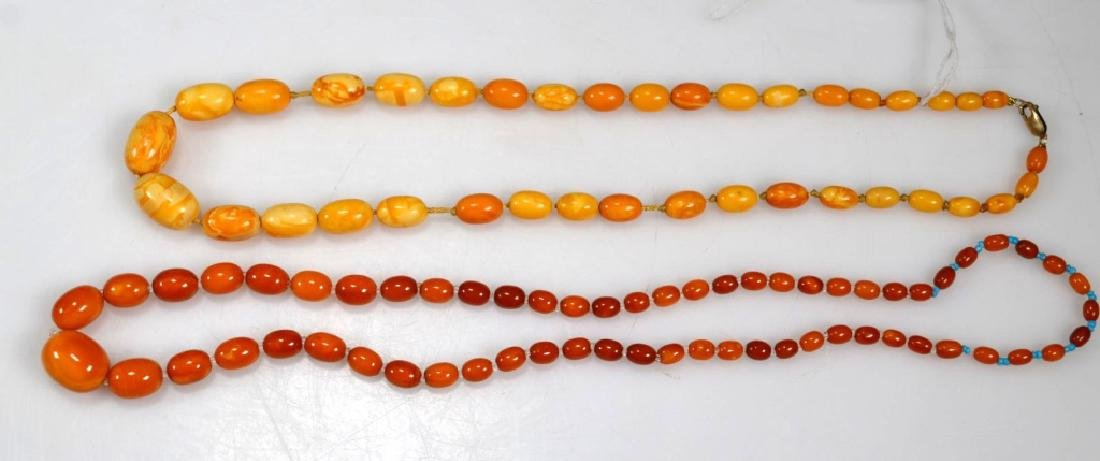 2 - Butterscotch Amber Bead Necklaces; 52 Grams