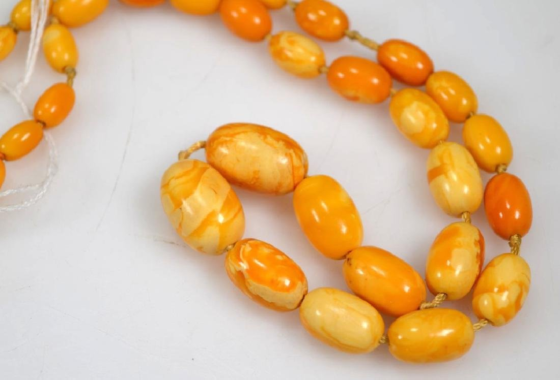 2 - Butterscotch Amber Bead Necklaces; 52 Grams - 2