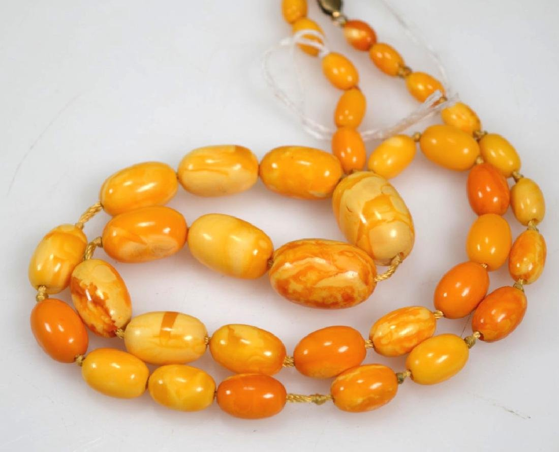 2 - Butterscotch Amber Bead Necklaces; 52 Grams - 3